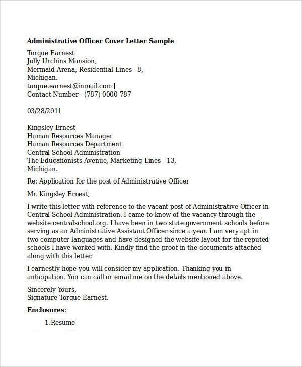 administrative officer cover letter administrative officer cover