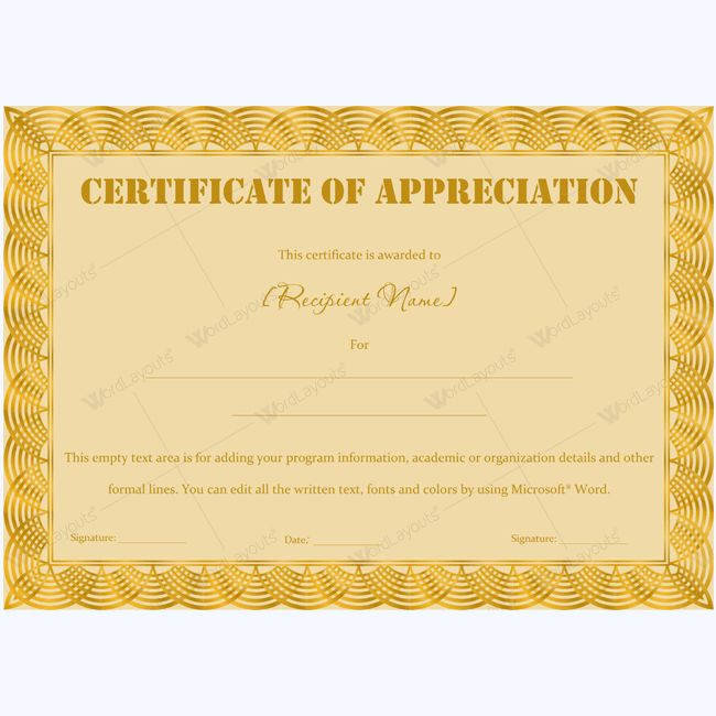 Certificate Of Appreciation Wording Examples ...