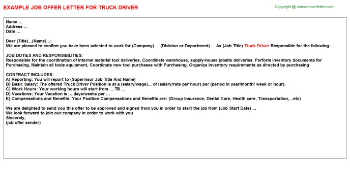 Truck Driver Offer Letters