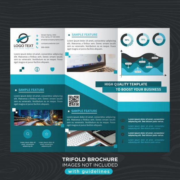 Blue stylish business trifold brochure template Vector | Free Download