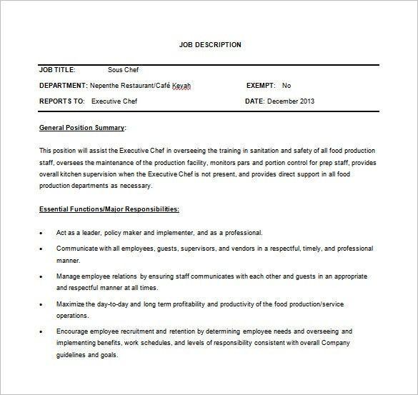 Sous Chef Job Description Template – 8+ Free Word, PDF Format ...