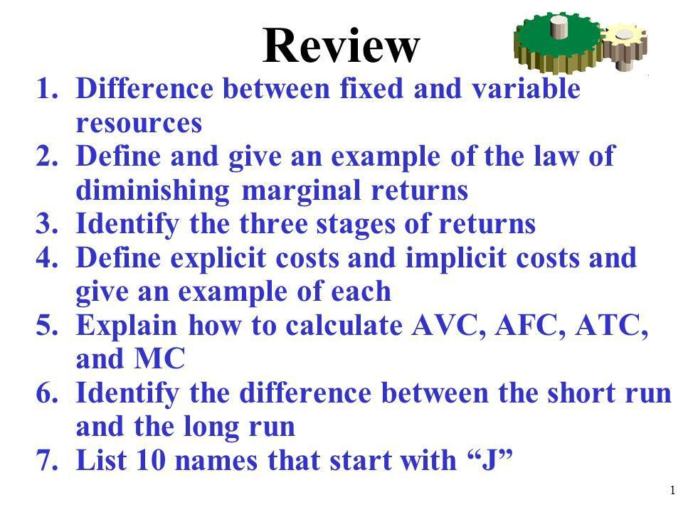 Review 1.Difference between fixed and variable resources 2.Define ...