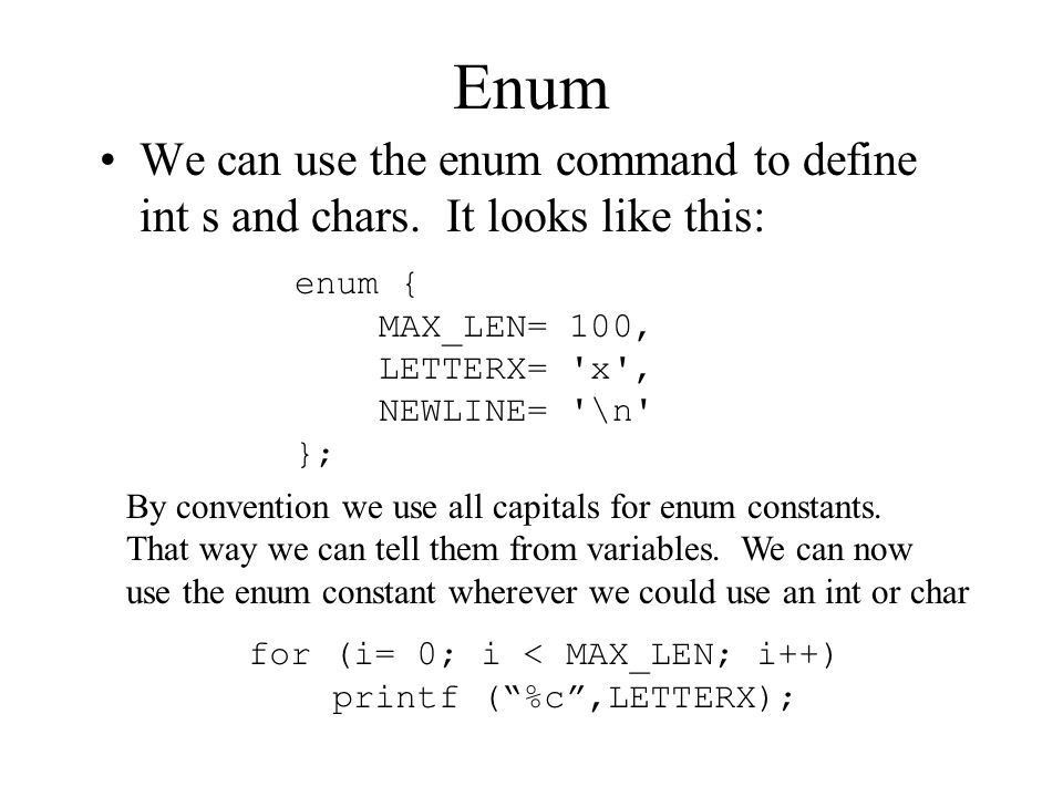 How to write enum in c