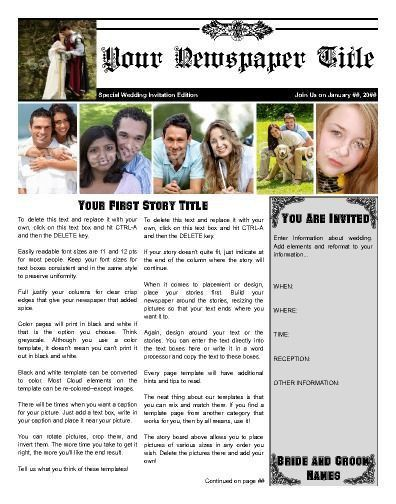 35 best Wedding & Engagement Newspaper Templates images on ...