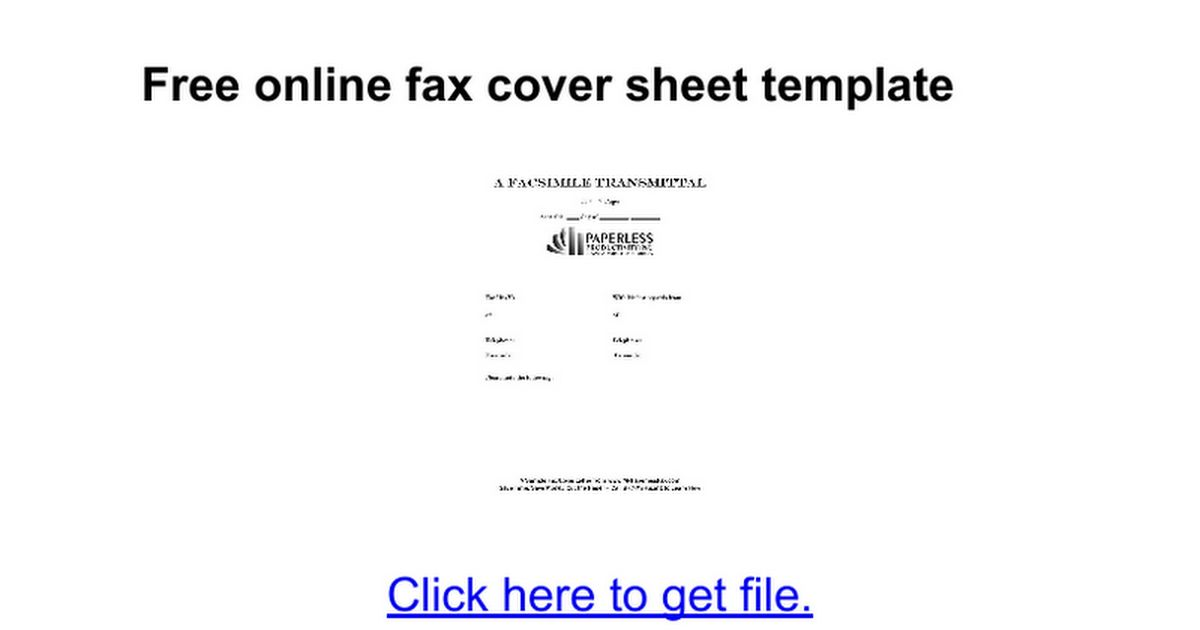 Free online fax cover sheet template - Google Docs