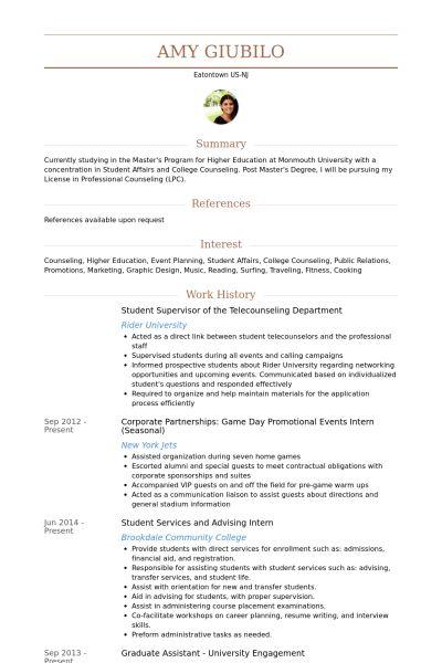 Student Supervisor Resume samples - VisualCV resume samples database