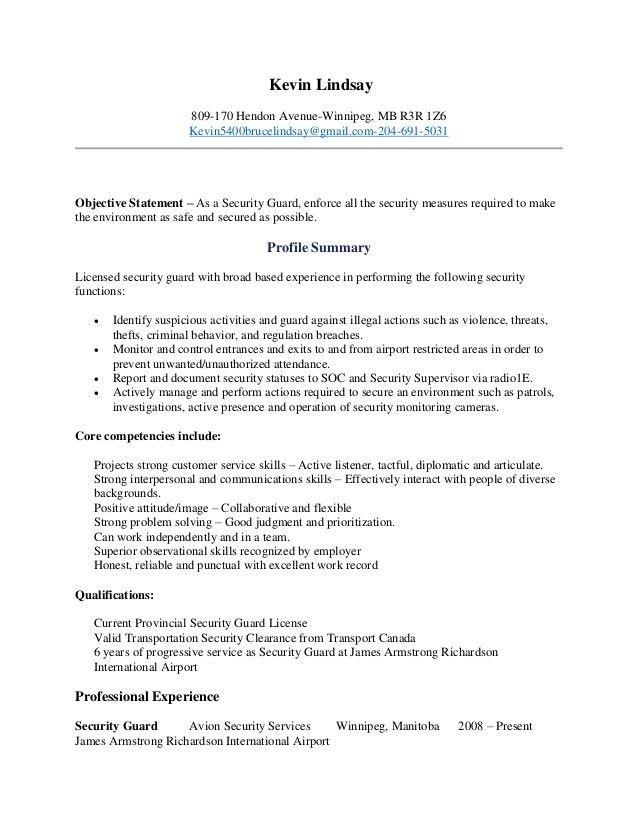 information resume security officer sample objective security ...