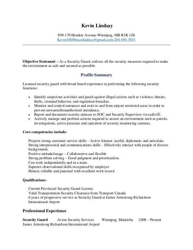 Unarmed Security Resume Security Guard Resume Sample Resume Sample ...