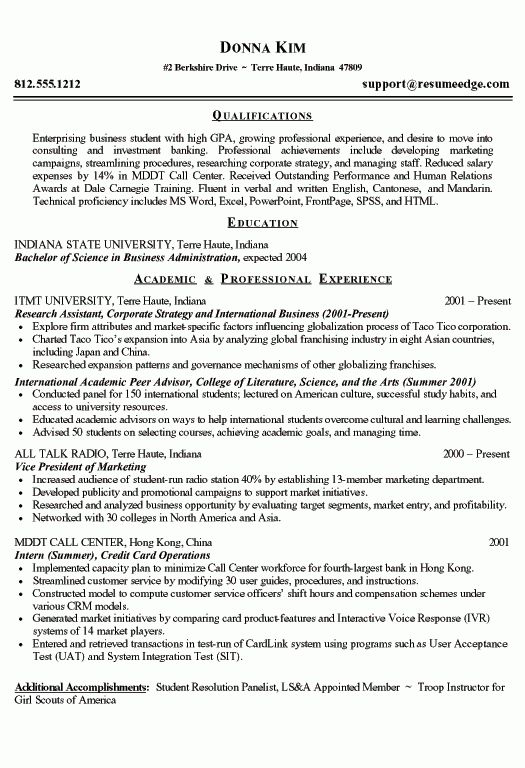 examples of a student resume finance student resume example