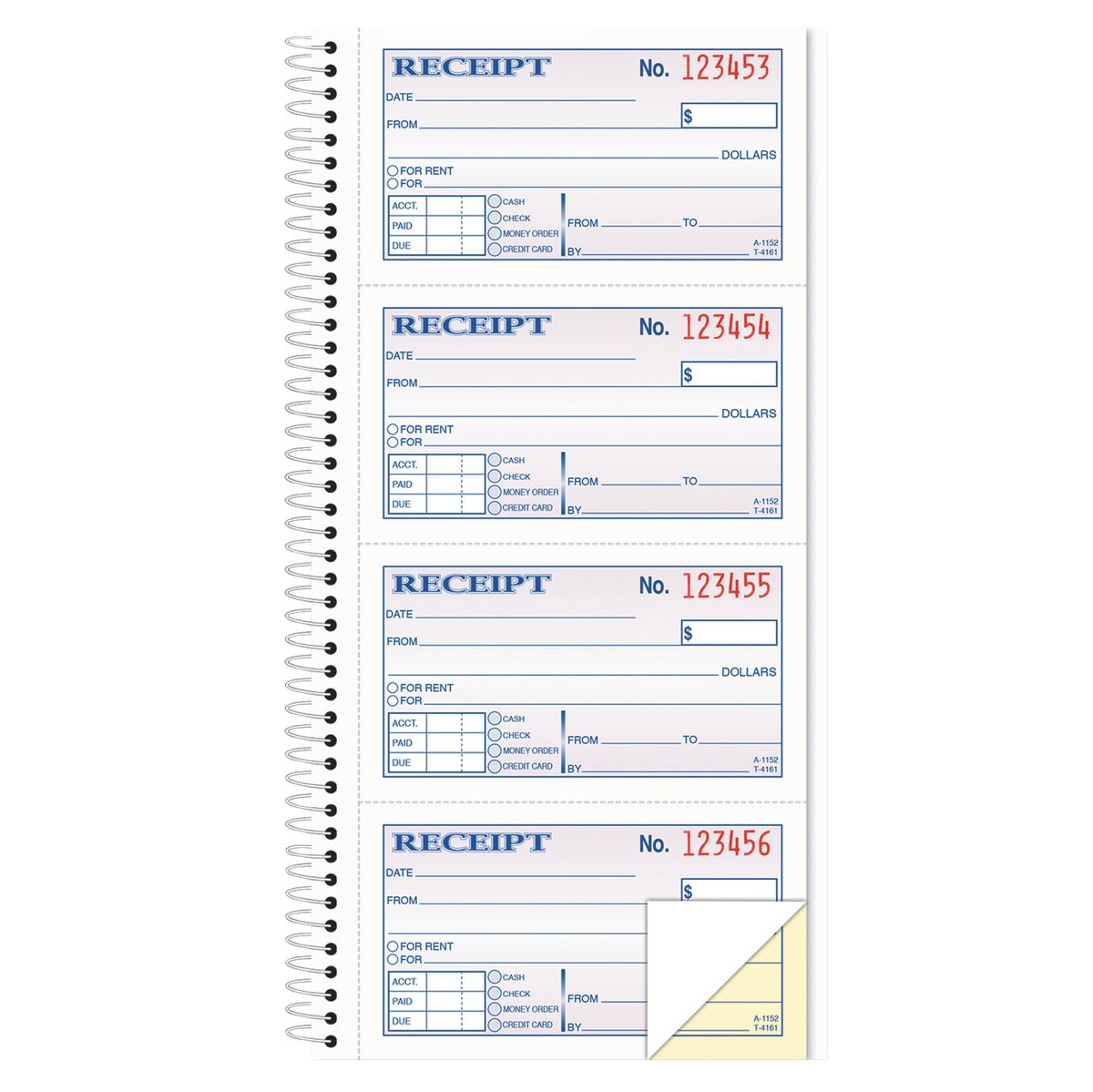 TOPS Money/Rent Receipt Spiral Book, 2-3/4 x 4 3/4, 2-Part ...