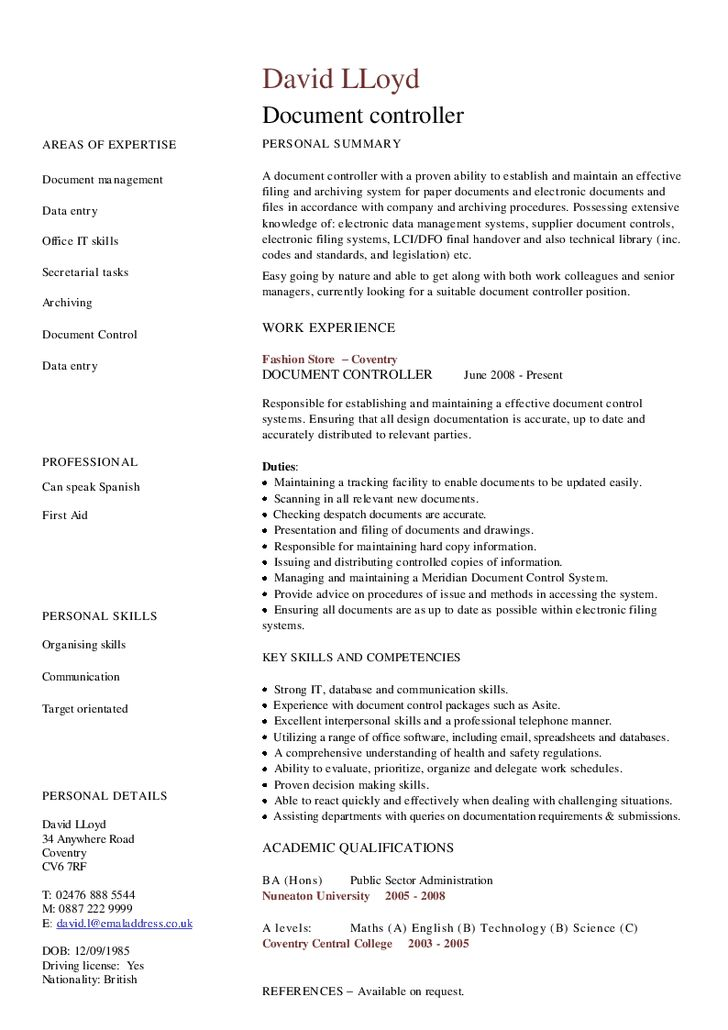 Cv Of Document Controller | Professional resumes sample online