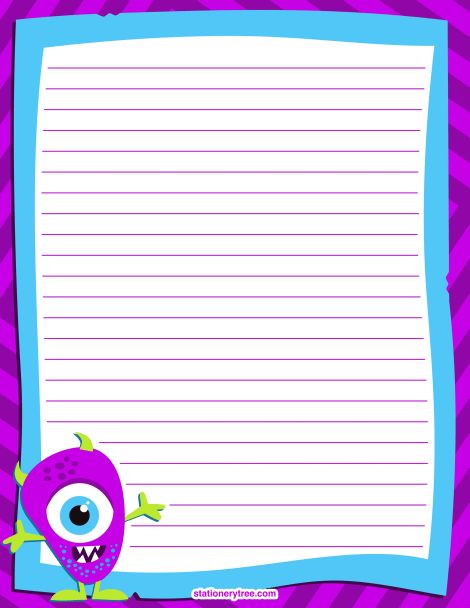 Printable monster stationery and writing paper. Free PDF downloads ...