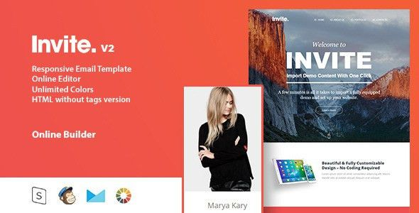 invite - Responsive Email Template + Online Editor by Zay01 ...