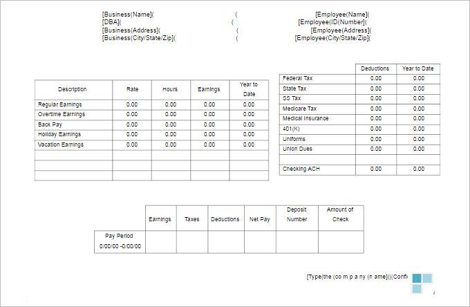 Check Stub Templates - Free Word, PDF Documents   Creative Template