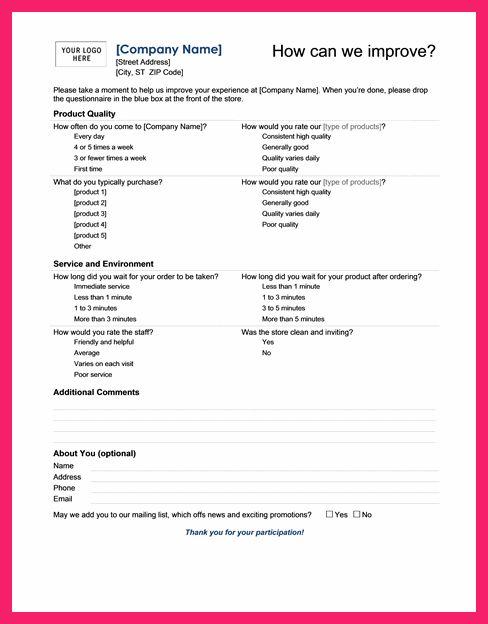 questionnaire template word | bio letter format