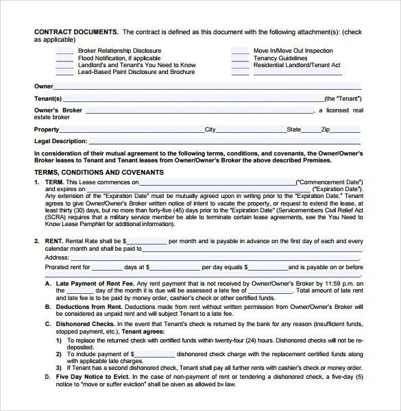 Editable Blank Residential Lease Agreement Sample with Terms and ...