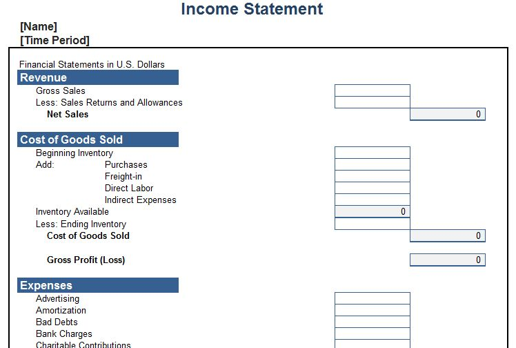 Income Statement Template | Free Layout & Format