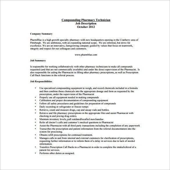 9+ Pharmacy Technician Job Description Templates - Free Sample ...