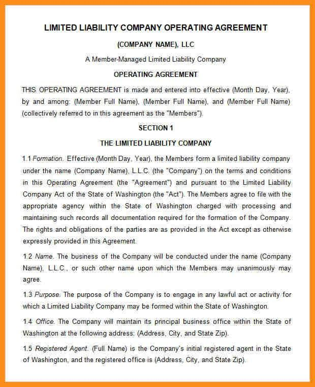 Sample Business Operating Agreement Operating Agreement  Free Pdf