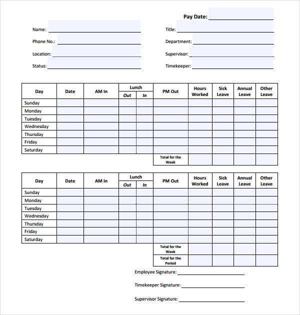 13+ HR Timesheet Templates – Free Sample, Example Format Download ...