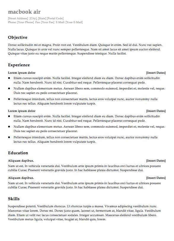 Free blank resume templates - RESUMEDOC