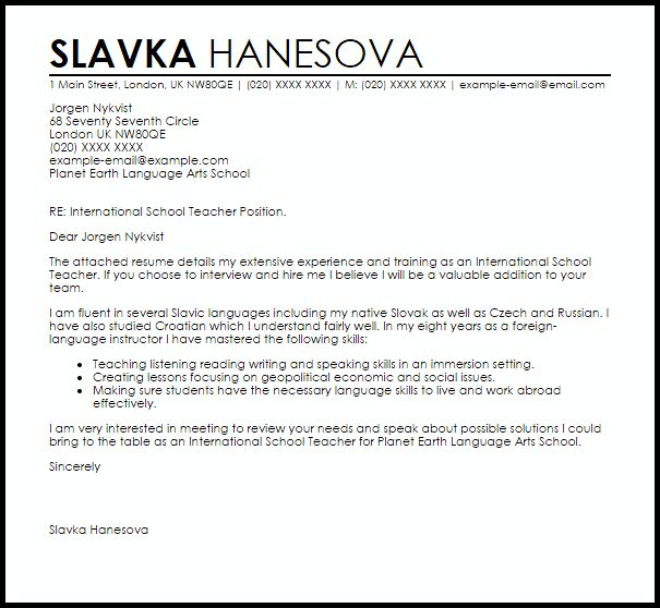 International School Teacher Cover Letter Sample | LiveCareer