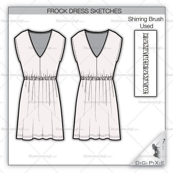 Frock Dress Sketch Template – Illustrator Stuff