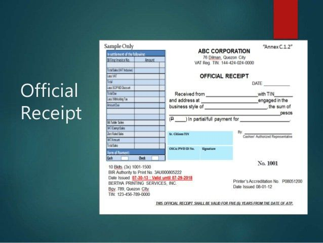 Atp, official receipts, invoices & books of accounts sales, inc…