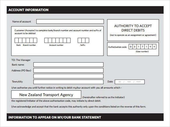 Authority Form Template Sample Medical Authorization Form – Direct Debit Form