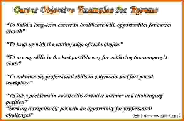 career objective resume examplesReference Letters Words ...