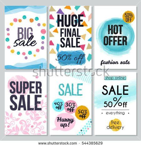 Set Abstract Flat Sale Cards Banners Stock Vector 516812329 ...