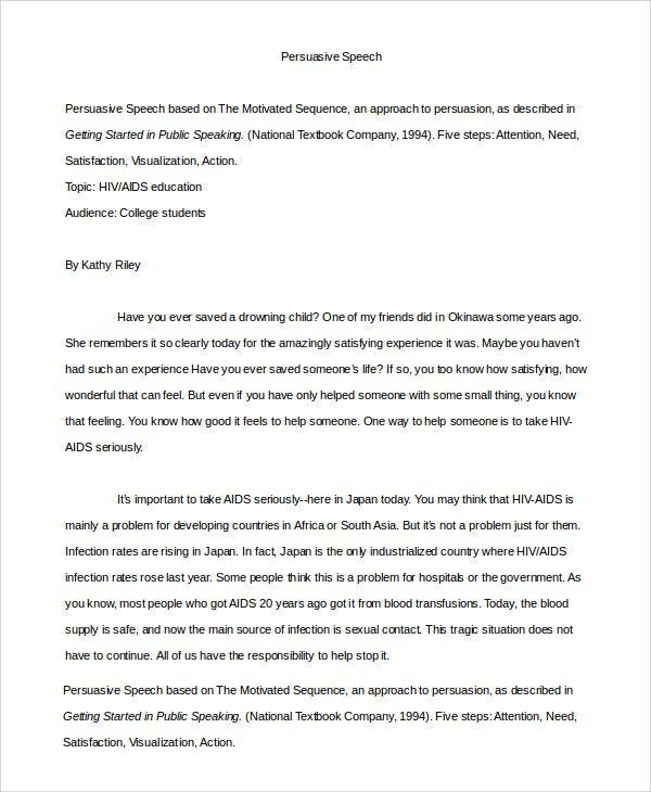 Persuasive Speech Example - Samples in PDF, Word