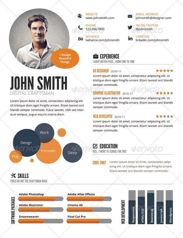 InfoGraphic Style Resume Template by GraphicMonkee | GraphicRiver
