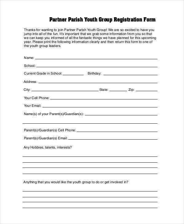 7+ Youth Group Registration Form Samples - Free Sample, Example ...