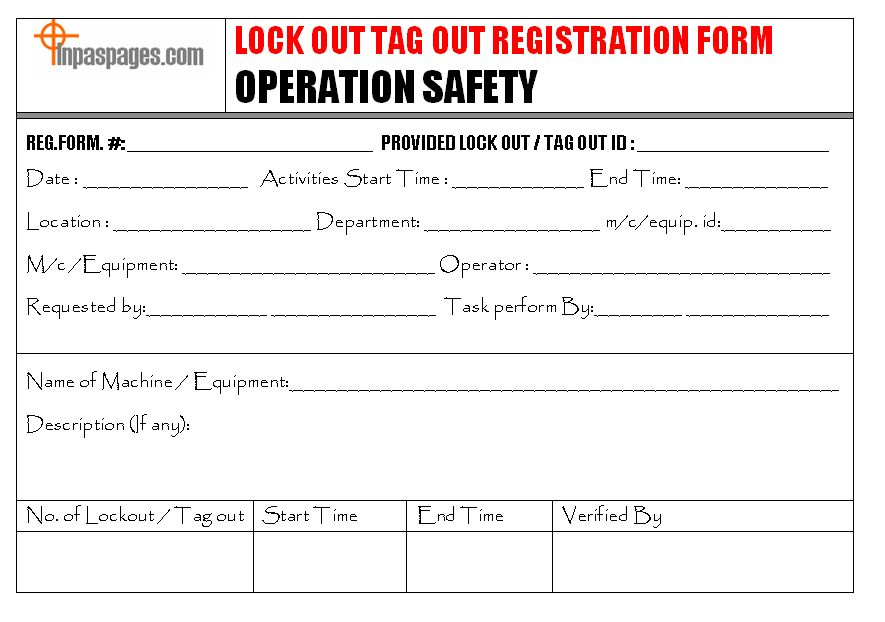 Safety Lock out / Tag out Process for Maintenance task