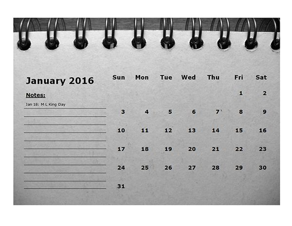 2016 Monthly Calendar Template 01 - Free Printable Templates