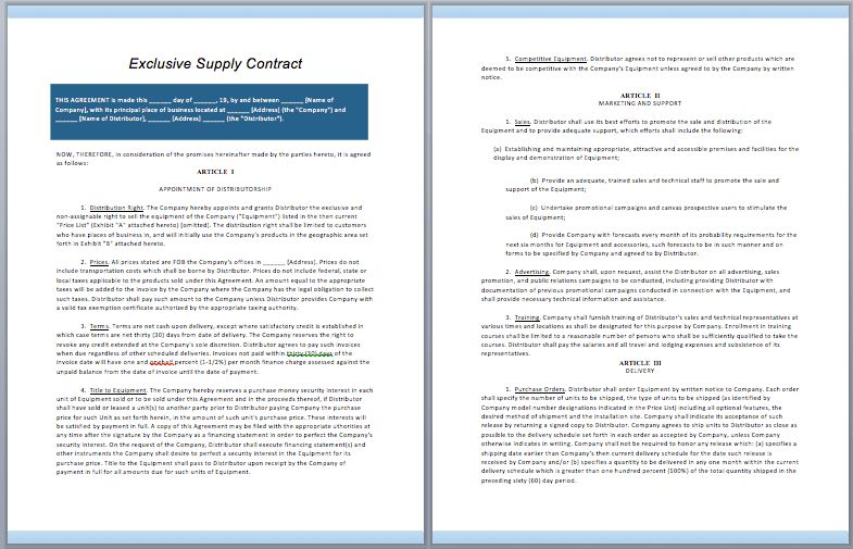 Exclusive Supply Contract Template – ContractGuru