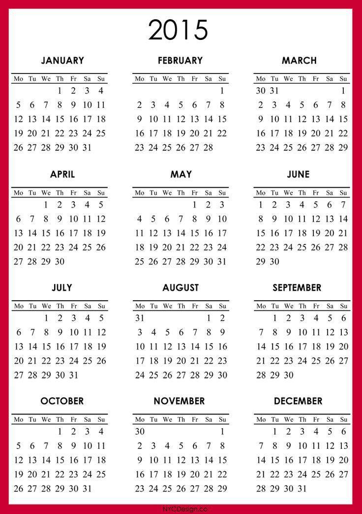 free 2015 printable calendar   2015 Calendar - Printable - Red ...
