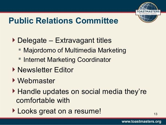 Toastmasters Vice President Public Relations Training