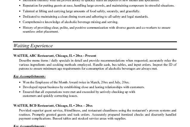 Sample Waitress Resume Examples JK impeccable wait service ...