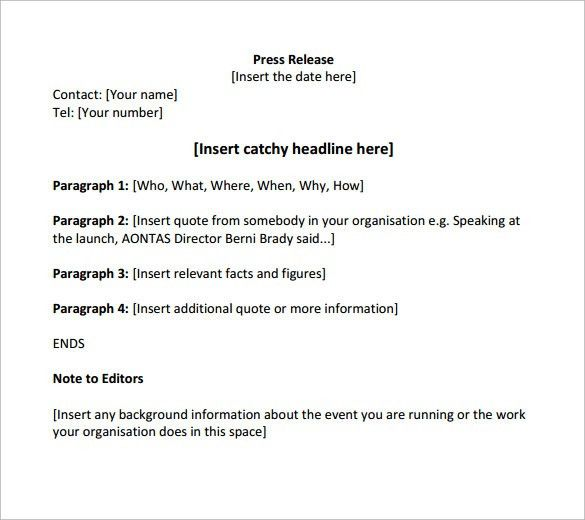 Sample Press Release Template - 13+ Free Documents in PDF, Word
