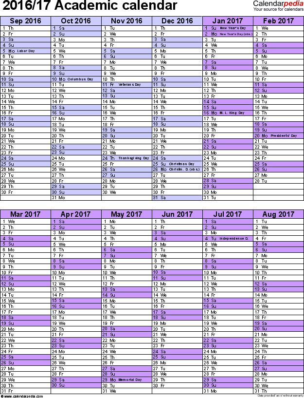 Academic calendars 2016/2017 as free printable Excel templates