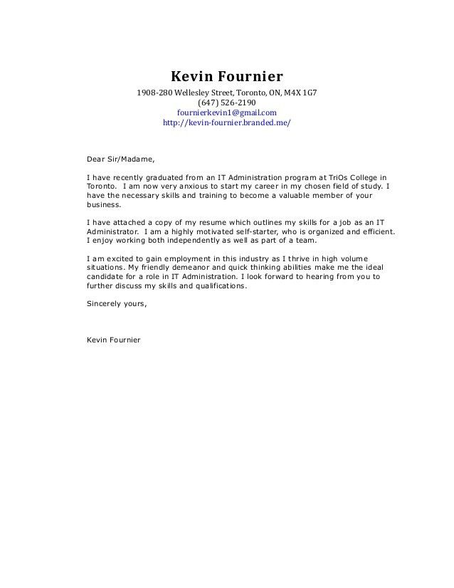 Kevin Fournier's IT Cover Letter and Resume