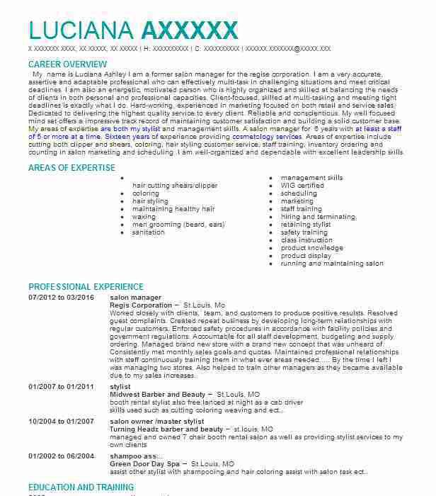 Best Salon, Spa or Fitness Manager Resume Example | LiveCareer