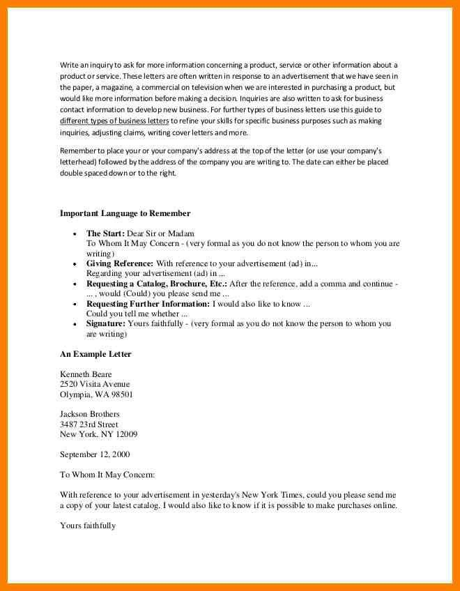 Example Of Inquiry Letter For Product | Job.billybullock.us
