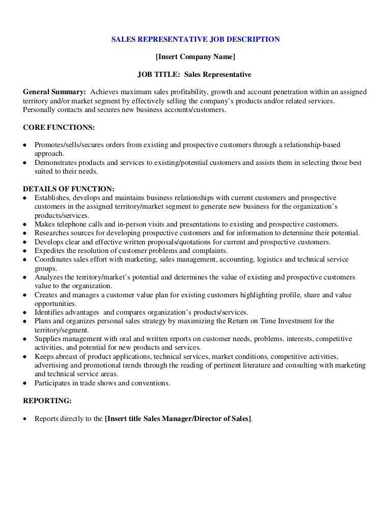 Sample sales representative job description
