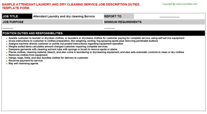 Attendant Laundry And Dry Cleaning Service Job Description