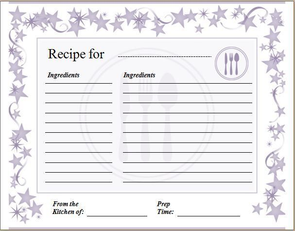 Blank Recipe Card Template | Formal Word Templates