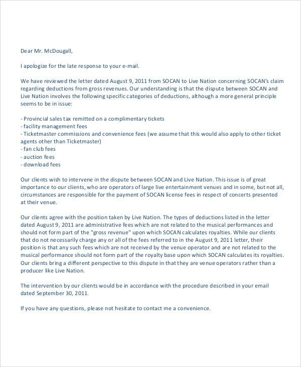 Sample Business Apology Letter   5+ Designs, Examples