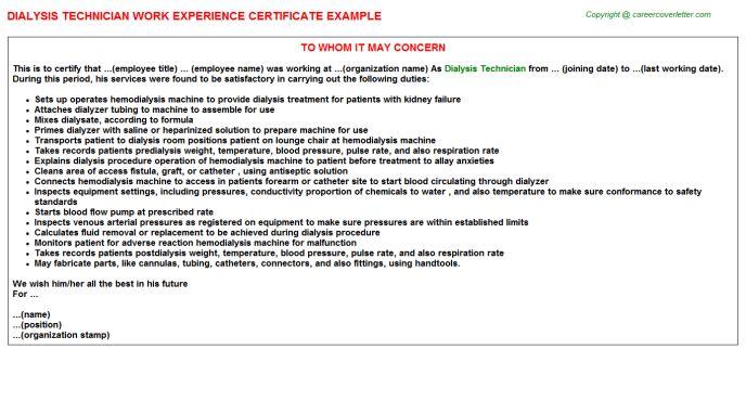 Dialysis Technician Work Experience Certificate